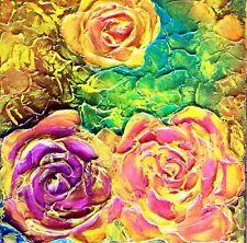 MARINA REHRMANN Original Painting, 3D Art on Canvas, Roses  12 x 12  🧿🧿🧿🧿