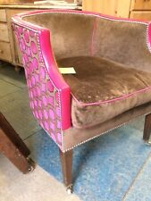 Tub Chair ( Upholstered in Velvet and leather)