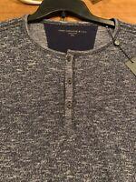 NWT John Varvatos Star USA XXL Bridgeport 3 button Henley Elbow Patch Blue