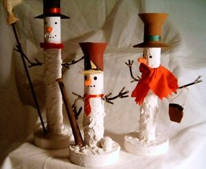 Trio Tin Snowmen - Tapered Candle Holders - 3 in set
