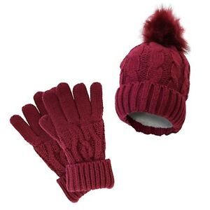 Ladies Warm Winter Acrylic Cable Knit Heat Machine Thermal Hat/Gloves Set RASPBY