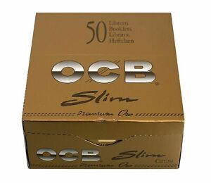 50 X OCB GOLD Slim Premium One King Size Rolling Smoking Papers Skins Genuine