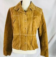 Wilson Suede Leather Jacket Maxima Womens Size LargeTan Brown Snap Front