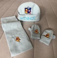 Boys Baby Disney Winnie The Pooh Scarf Mittens Beanie Set Size 0-1Yrs Baby Blue