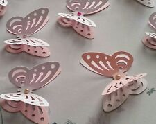 24x Table Decorations 3D Butterflies white and pink Colored pearls