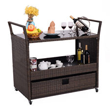 Rolling Portable Rattan Wicker Kitchen Trolley Cart Dining Restaurant W/Shelves