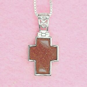 Sterling Silver - Goldstone Cross Necklace (NL244)