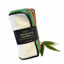 New listing Whiff Bamboo Dish Cloth & Kitchen Wipe, 6 Washable, Reusable, Absorbent, Sust.
