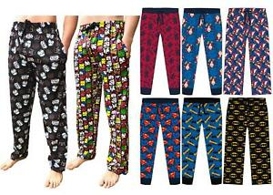 Mens Character Lounge Pyjama Pants Bottoms Marvel Star Wars DC Disney Potter