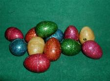 """EASTER EGG 12 VTG Collectible Bright Color Glittery Refillable Plastic 2.5"""" X 2"""""""