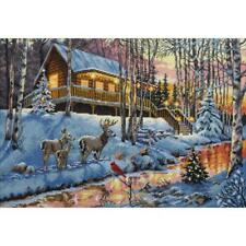 """Dimensions Gold Collection Counted Cross Stitch Kit Winter Cabin 10"""" X 15"""" NEW"""