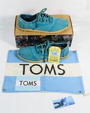 NEW Toms Aqua Blue Ceara Cordones Lace Up Sneakers Canvas Shoes Sz 9 *