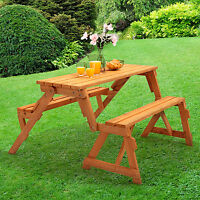 WOODEN FOLDING BENCH PICNIC GARDEN SEAT TABLE 2 in 1 OUTDOOR SEATS UPTO 4/6 NEW