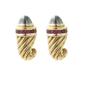 David Yurman Torch Earrings 14K Yellow Hematite/Ruby
