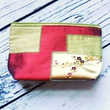 Bath & Body Works Green Make Up Bag PURSE Travel Patchwork DESIGN