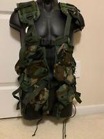 USGI Enhanced Tactical Load Bearing Vest Woodland Camo MADE IN USA (Excellent)