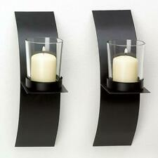 1 Pcs Modern Art Candle Holder Wall Black Sconce Plaque Set Deco Home Wedding