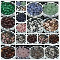 4/6/8/10mm Wholesale Lot Natural Stone Gemstone Round Spacer Loose Beads Making