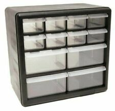 12 Plastic Cabinet Drawers Bins Garage Tools Parts Organizer Large Storage Boxes