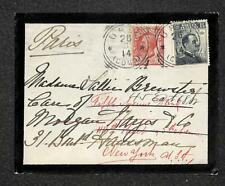 ITALY TO FRANCE TO USA NEW YORK AUXILIARY MARKING MOURNING COVER STAMPS 1914