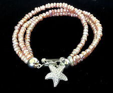 Triple Strand Freshwater Cultured Pearl Sterling Silver Starfish Charm Bracelet