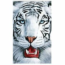 """White Tiger Towel Big Cat Face Beach Pool EXTRA LARGE 40""""x70"""""""