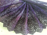 "5.5""/14 CM Beautiful Purple Embroidered Tulle Flat Lace Trim.Sewing/Bridal"