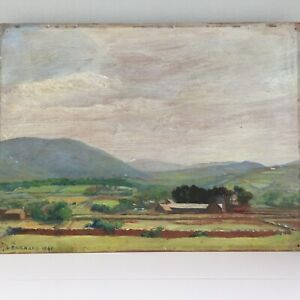 Vintage Original Oil on Board Painting Countryside Scene Signed Dated 1941 33cm