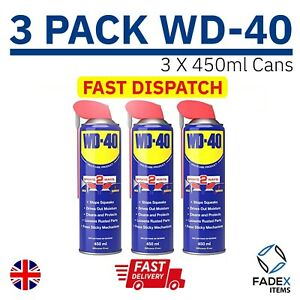 3 X WD-40 Cleaning Lubricant Multi Use. 450ml With Smart Straw Protects Rust