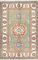 Oriental Kazak Area Rug 3 x 4 Handmade NEW Geometric Pakistani Rug Wool Green