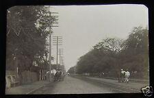 Glass Magic lantern slide HONOLULU STREET NO2 C1890 HAWAII USA NATIVE HAWAIIAN