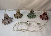 Vtg 40-50's USA Underwriters Laboratories 4 Glass Bulb Mesh Bells Garland WORKS