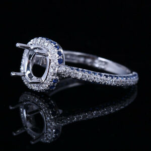 Semi Mount 0.75CT Real Diamond Sapphire Ring Setting 7.5mm Round Sterling Silver