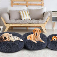 Pet Dog Cat Calming Bed Warm Soft Cushion Round Nest Comfy Sleeping Kennel Cave