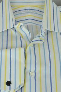 Holland & Sherry Men's White Blue & Yellow Striped Cotton Dress Shirt 16 x 37
