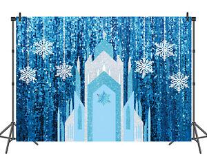 Winer Frozen Backdrop Ice Crystal Castle Princess Birthday Party Photo Backdrop