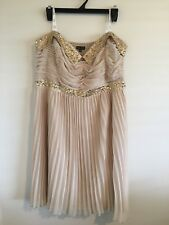 """""""City Chic"""" Beige Beaded Strapless Cocktail Dress With Pleated Skirt. Size XL"""