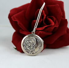 Sterling Silver 12g  Faux Cameo Style Locket Necklace  CAT RESCUE