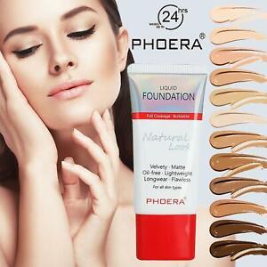 PHOERA Matte Liquid Skin Foundation Full Coverage Long Lasting Light Face Makeup