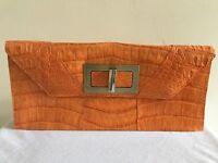 PAOLA DANGOND Orange Crocodile Clutch Bag Handbag