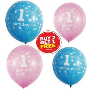 """Pink Girl's Blue Boy's 1st Birthday Party Pearlised 12"""" Latex Buy 2 Get 1 Free"""