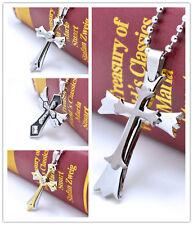 2017 New Stainless Steel bilayer cross necklace pendant Rhinestone jewelry