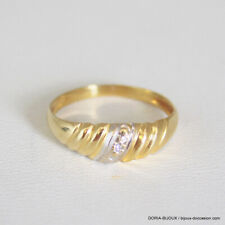 Bague Or Bicolore 750/000 18k 1 Diamant 1.7grs -53 - Bijoux occasion