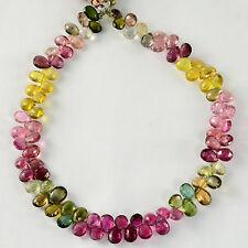 Rubellite Green Yellow Tourmaline Pear Briolette Beads 9.25 inch strand