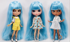 Blythe Doll 30cm Joint Body 1/6 BJD Changing Eye Color Long Blue Straight Hair