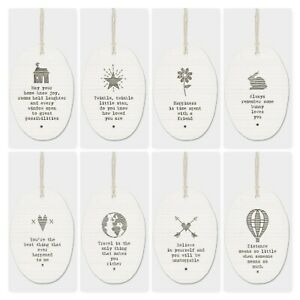 East of India White Porcelain Hanger with Sayings Family Friends Gift 5.5x8cm