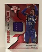2015-16 Panini Ben McLemore Totally Certified Fabric of the Game  Card No. FG-BM