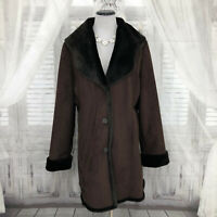 Calvin Klein Womens Large Solid Brown Long Faux Fur Coat Collar Suede Heavy