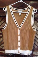 Vintage COVINGTON Button Down Vest Sleeveless Cable Knit Sweater Women's XL (18)