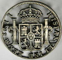 1810s SPAIN 8 REALES CUTOUT ~ PIN ON BACK ~ RARE AND UNIQUE!!! INV# 1